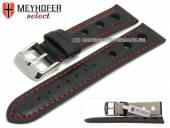 Uhrenarmband Topeka 17mm schwarz Alligator-Prägung Racing-Look rote Naht von MEYHOFER (Schließenanstoß 16 mm)