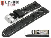 Uhrenarmband Topeka 17mm schwarz Alligator-Prägung Racing-Look weiße Naht von MEYHOFER (Schließenanstoß 16 mm)