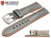 Uhrenarmband Rheinsberg 17mm grau Leder sportiv Carbon-Look orange Naht von MEYHOFER (Schließenanstoß 16 mm)
