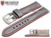 Uhrenarmband Rheinsberg 17mm grau Leder sportiv Carbon-Look rote Naht von MEYHOFER (Schließenanstoß 16 mm)
