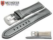 Uhrenarmband Rheinsberg 17mm grau Leder sportiv Carbon-Look schwarze Naht von MEYHOFER (Schließenanstoß 16 mm)