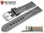 Uhrenarmband Rheinsberg 21mm grau Leder sportiv Carbon-Look weiße Naht von MEYHOFER (Schließenanstoß 20 mm)