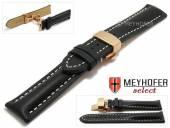 Uhrenarmband Minden 20mm schwarz Leder helle Naht roségoldfarbene Faltschließe von MEYHOFER (Schließenanstoß 18 mm)