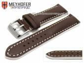 Uhrenarmband Paracatu 20mm dunkelbraun Leder glatt weiße Naht von Meyhofer (Schließenanstoß 18 mm)