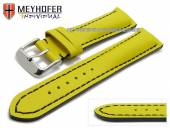 Uhrenarmband Paracatu 20mm gelb Leder glatt schwarze Naht von Meyhofer (Schließenanstoß 18 mm)