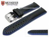 Uhrenarmband Paracatu 17mm schwarz Leder glatt blaue Naht von Meyhofer (Schließenanstoß 16 mm)