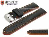 Uhrenarmband Paracatu 17mm schwarz Leder glatt orangefarbene Naht von Meyhofer (Schließenanstoß 16 mm)