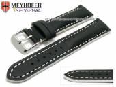 Uhrenarmband Paracatu 18mm schwarz Leder glatt weiße Naht von Meyhofer (Schließenanstoß 16 mm)