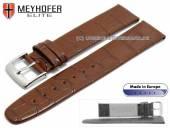 Uhrenarmband Deltona 19mm mittelbraun Leder Alligator-Prägung von MEYHOFER (Schließenanstoß 16 mm)
