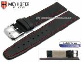 Uhrenarmband Stendal 17mm schwarz Leder fein genarbt rote Naht von MEYHOFER (Schließenanstoß 14 mm)