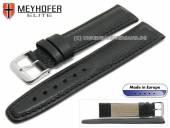 Uhrenarmband Frohburg 24mm schwarz Leder genarbt abgenäht von MEYHOFER (Schließenanstoß 20 mm)