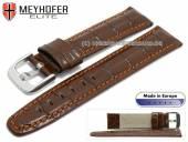 Uhrenarmband L (lang) Lakeland 24mm mittelbraun Leder Alligator-Prägung orange Naht MEYHOFER (Schließenanstoß 20 mm)