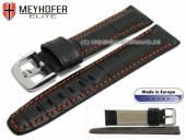 Uhrenarmband L (lang) Lakeland 24mm schwarz Leder Alligator-Prägung orange Naht von MEYHOFER (Schließenanstoß 20 mm)