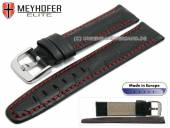 Uhrenarmband L (lang) Lakeland 24mm schwarz Leder Alligator-Prägung rote Naht von MEYHOFER (Schließenanstoß 20 mm)