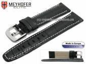 Uhrenarmband Leesburg 20mm schwarz Leder Alligator-Prägung helle Naht von MEYHOFER (Schließenanstoß 18 mm)