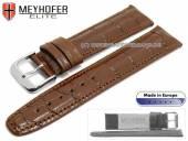 Uhrenarmband Weston 23mm mittelbraun Leder Alligator-Prägung abgenäht von MEYHOFER (Schließenanstoß 20 mm)