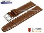 Uhrenarmband Bradenton 18mm mittelbraun Leder Alligator-Prägung helle Naht von MEYHOFER (Schließenanstoß 16 mm)