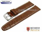 Uhrenarmband S (kurz) Lauderhill 20mm mittelbraun Leder Alligator-Prägung helle Naht MEYHOFER (Schließenanstoß 18 mm)