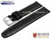 Uhrenarmband S (kurz) Lauderhill 20mm schwarz Leder Alligator-Prägung helle Naht von MEYHOFER (Schließenanstoß 18 mm)