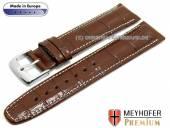 Uhrenarmband Zamora 21mm mittelbraun Leder Alligator-Prägung helle Naht von MEYHOFER (Schließenanstoß 18 mm)