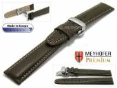 Uhrenarmband  L (lang) Carpi 21mm dunkelbraun Leder genarbt helle Naht Faltschließe MEYHOFER (Schließenanstoß 18 mm)