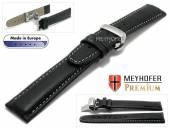 Uhrenarmband  L (lang) Carpi 21mm schwarz Leder genarbt helle Naht Faltschließe von MEYHOFER (Schließenanstoß 18 mm)