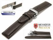 Uhrenarmband  Sanremo 21mm dunkelbraun Leder genarbt helle Naht Faltschließe von MEYHOFER (Schließenanstoß 18 mm)