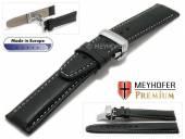 Uhrenarmband  Sanremo 18mm schwarz Leder genarbt graue Naht Faltschließe von MEYHOFER (Schließenanstoß 18 mm)