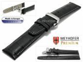 Uhrenarmband  Merano 21mm schwarz Alligator-Prägung graue Naht Faltschließe von Meyhofer (Schließenanstoß 18 mm)