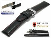 Uhrenarmband  Merano 21mm schwarz Alligator-Prägung rote Naht Faltschließe von Meyhofer (Schließenanstoß 18 mm)
