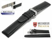 Uhrenarmband  Ferrara 18mm schwarz Leder perforiert helle Naht Faltschließe von MEYHOFER (Schließenanstoß 18 mm)