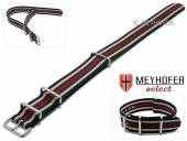 Uhrenarmband Idaho 24mm schwarz/beige Textil blaue und roter Streifen 3 Metallschlaufen Durchzugsband von MEYHOFER