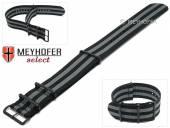 Uhrenarmband Kentucky 28mm schwarz Textil graue Streifen 3 Metallschlaufen schwarz Durchzugsband von MEYHOFER
