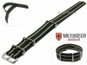 Uhrenarmband Nebraska 20mm schwarz Textil mit beigen Streifen 3 Metallschlaufen Durchzugsband MEYHOFER