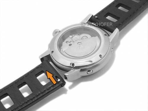 Meyhofer EASY-CLICK Uhrenarmband -Brega- 22mm schwarz Leder glatt Racing-Optik helle Naht (Schließenanstoß 22 mm) - Bild vergrößern