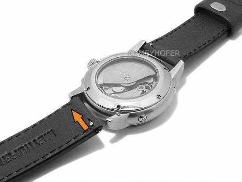 Meyhofer EASY-CLICK Uhrenarmband -Burgau- 22mm schwarz Leder glatt helle Naht (Schließenanstoß 22 mm) - Bild vergrößern