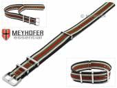 Uhrenarmband Durham 22mm schwarz Synthetik/Textil beige grüne rote Streifen NATO-Look Durchzugsband von MEYHOFER