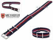 Uhrenarmband Anchorage 20mm dunkelblau Synthetik/Textil weißer roter Streifen NATO-Look Durchzugsband von MEYHOFER