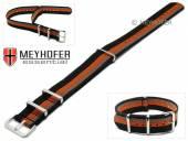 Uhrenarmband Lexington 20mm schwarz Synthetik/Textil graue orange Streifen NATO-Look Durchzugsband von MEYHOFER