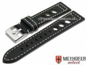 Uhrenarmband Pergusa 22mm schwarz Leder Racing-Look helle Naht von MEYHOFER (Schließenanstoß 20 mm)