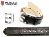Ledergürtel Pretoria BLT schwarz Alligator-Prägung helle Naht für Bundlänge  90cm (S) von MEYHOFER