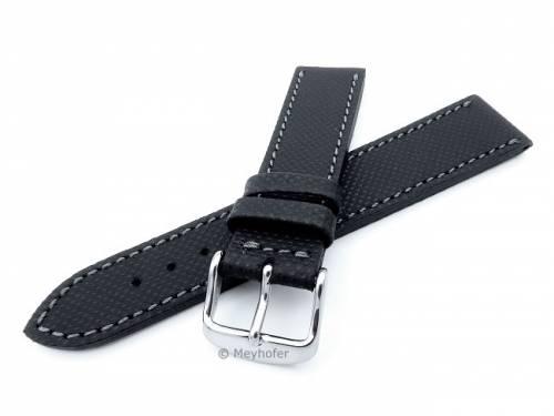 Uhrenarmband -Westerland- 24mm schwarz Leder mit Struktur abgenäht von MEYHOFER (Schließenanstoß 22 mm) - Bild vergrößern