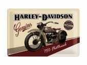 Deko-Blechschild / Retro-Reklameschild Harley-Davidson Flathead beige/bordeaux 20 x 30cm von Nostalgic-Art