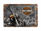 Deko-Blechschild / Retro-Reklameschild Harley-Davidson Favorite Ride grau/orange 20 x 30cm von Nostalgic-Art