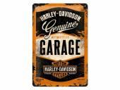 Deko-Blechschild / Retro-Reklameschild Harley-Davidson Garage dunkelbraun/orange 30 x 20cm von Nostalgic-Art