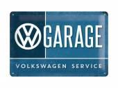 Deko-Blechschild / Retro-Reklameschild VW - Garage blau/weiß 20 x 30cm von Nostalgic-Art
