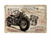 Deko-Blechschild / Retro-Reklameschild Route 66 Bike Map beige/rot 20 x 30cm von Nostalgic-Art