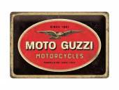 Deko-Blechschild / Retro-Reklameschild Moto Guzzi - Logo Motorcycles dunkelbraun/rot 20 x 30cm von Nostalgic-Art