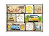Deko-Magnet-Set 9teilig VW Bulli - Let's Get Lost Retro-Style von Nostalgic-Art