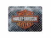 Deko-Blechschild / Retro-Reklameschild Harley-Davidson - Diamond Plate schwarz/grau 15 x 20cm von Nostalgic-Art